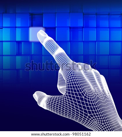 3d wireframe hand touching button on blue background