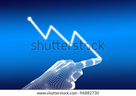 3d wireframe hand with diagram down on blue background
