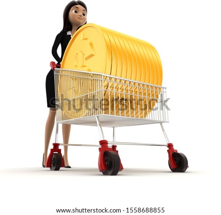 3d woman draw cart with golden coin of dollar concept on white background,low angle angle view