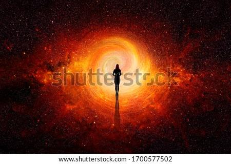 3d. Woman walking through the universe Stock photo ©