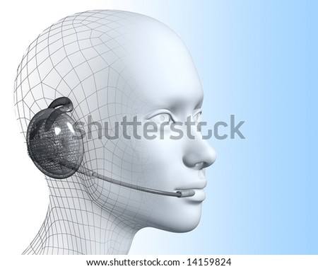 3D woman with headset