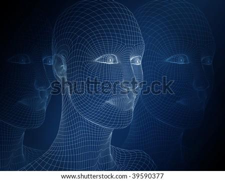 3d women head. Grid