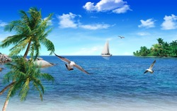 3D Wonderful view of the beautiful beach sea, wonderful birds, palm trees and a beautiful boat