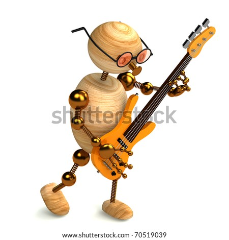 3d wood man bass guitar player isolated on white