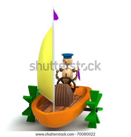 3d wood man on toy boat isolated