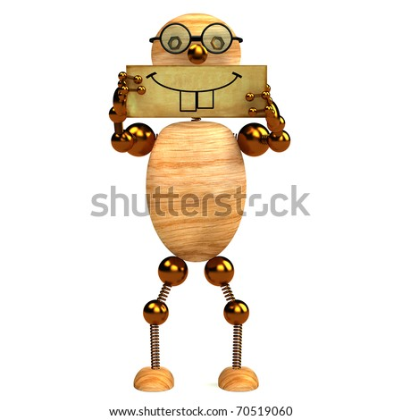 3d wood man smile holding blank board