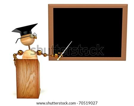3d wood man teacher isolated on white