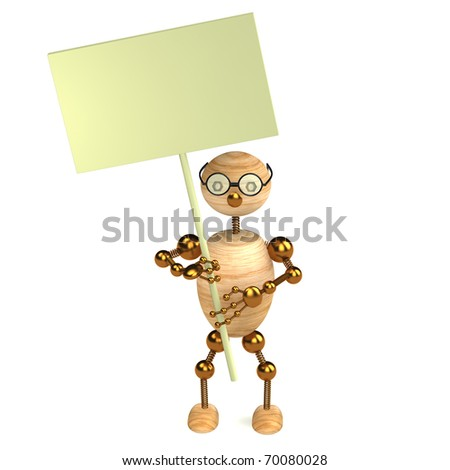 3d wood man with a blank board