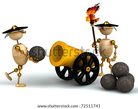 3d wood mans with a gold cannon isolated