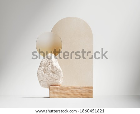 3D wood podium display on white background. Pastel beige Art deco arch. Cosmetic, beauty product promotion wooden, rock pedestal.  Natural stone and glass showcase. Abstract minimal studio 3D render