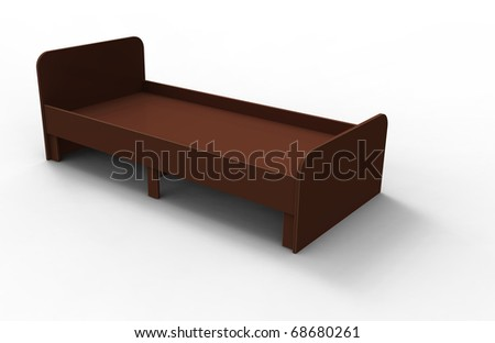 3d  wooden bed brown on a white background