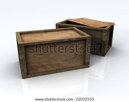3D Wooden Boxes - stock photo