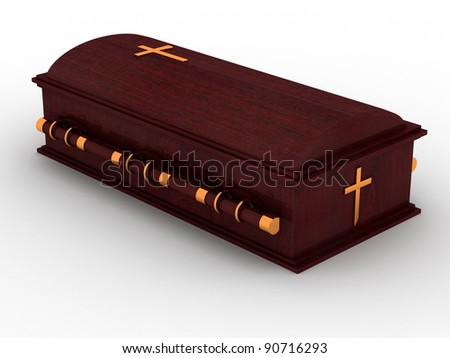 3D Wooden coffin from mahogany, with the christian cross