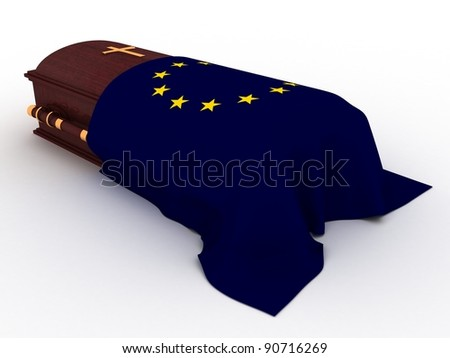 3D Wooden coffin from mahogany, with the flag of europe and christian cross