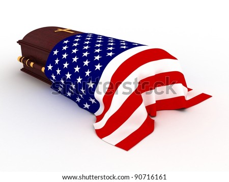 3D Wooden coffin from mahogany, with the flag of usa and christian cross