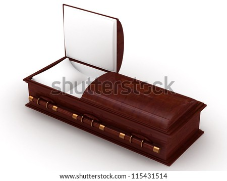 3D Wooden coffin from mahogany, with the open door
