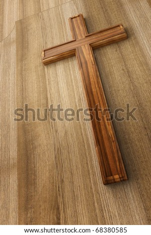 3d wooden cross - stock photo