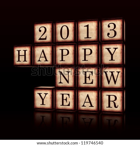 3d wooden cubes over black with figures makes text Happy New Year 2013, retro concept