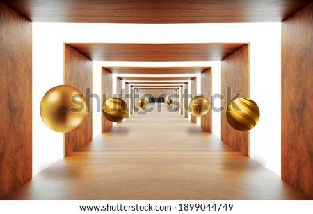 3d wooden mural wallpaper . illustration background tunnel with golden sphere . empty light hall background Graphical modern art
