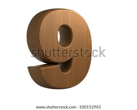 3d wooden number 9