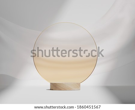 3D wooden podium display on white background. Round beige frosted glass rim frame. Cosmetics, beauty product promotion wood pedestal.  Natural showcase with curtain. Abstract minimal studio 3D render