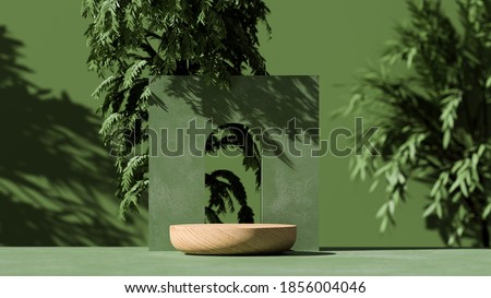 3D  wooden podium display with leaf shadow. Copy space green background. Cosmetics or beauty product promotion mockup.  Natural wood step pedestal. Trendy minimalist, art deco  3D render illustration.