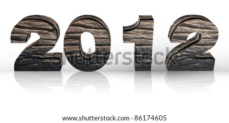 3D wooden render 2012 year on a white. With Save path for Change background