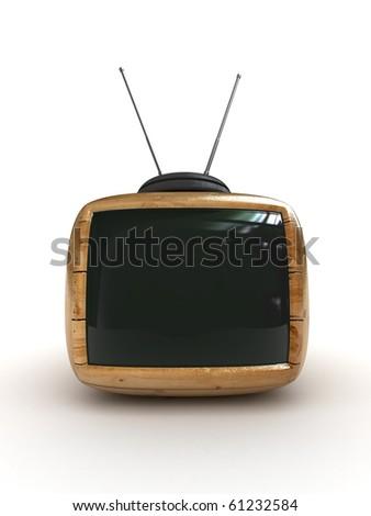 3d wooden Stylish classic tv -black screen