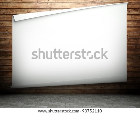 3d wooden texture wall with empty billboard