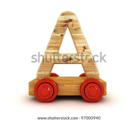 3D Wooden train alphabet isolated on white.