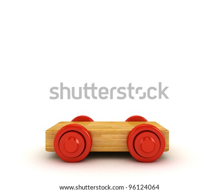 3D Wooden train isolated on white.