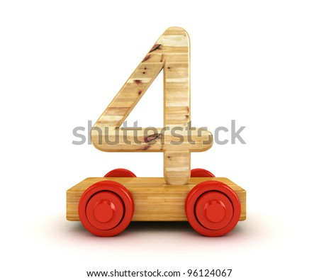 3D Wooden train number isolated on white.