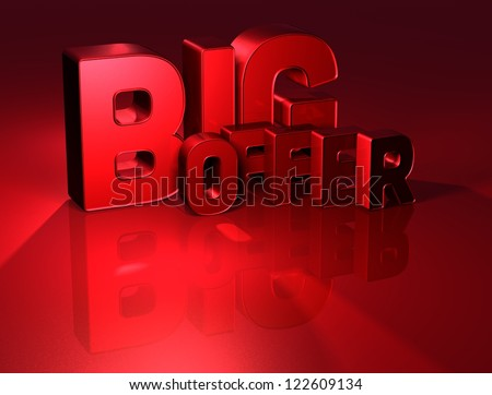 3D Word Big Offer on red background