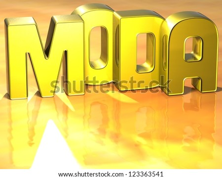 3D Word Moda on yellow background