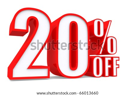 3d word 20 percent off on white isolated background