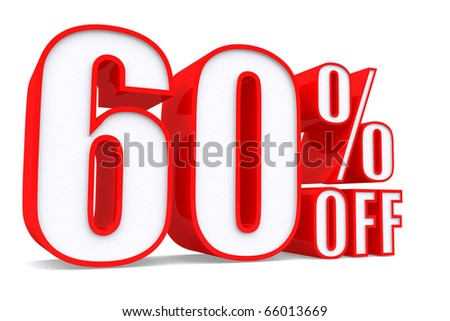 3d word 60 percent off on white isolated background