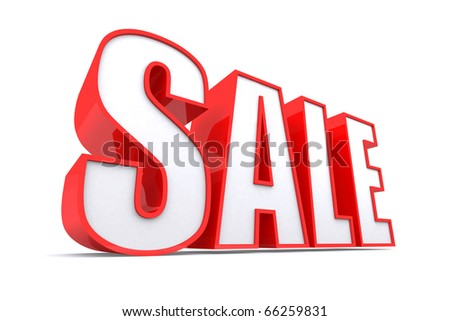 3d word SALE in red color glossy