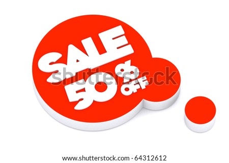 3d word SALE 50 percent off on thinking symbol