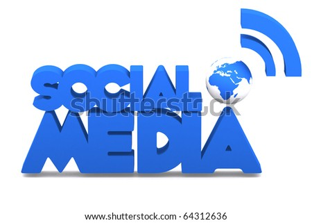 3d word social media with mini global