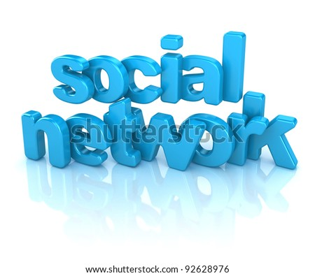 3d word social network on white background