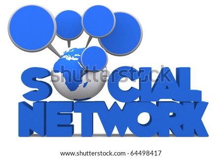 3d word SOCIAL NETWORK with mini global are talking