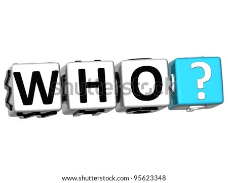 3D word Who with question mark. Block text over white background.