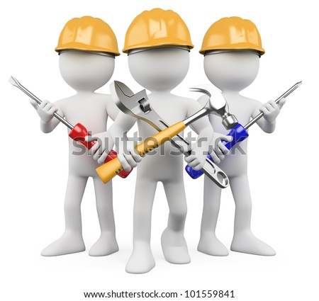 3D Workers - Team of work. Rendered at high resolution on a white background with diffuse shadows.