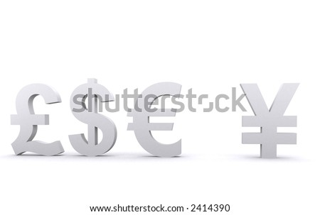 3d world currencies over a white background