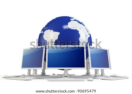 3d world globe with computer terminals on white background