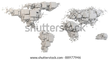 3d world map rendering out of blocks on white background