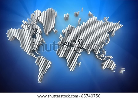 3d world map rendering out of cylinders