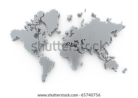 3d world map rendering out of cylinders - stock photo