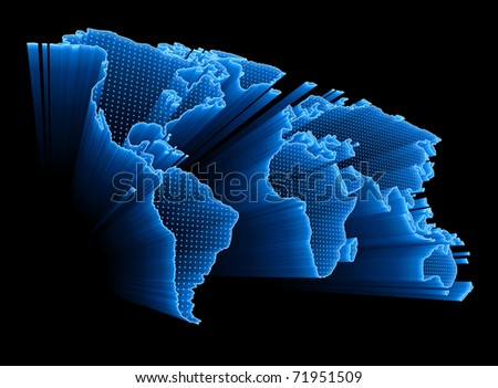 3D World Map with dots and lights representing the digital world. Concept of digital technology around the world.
