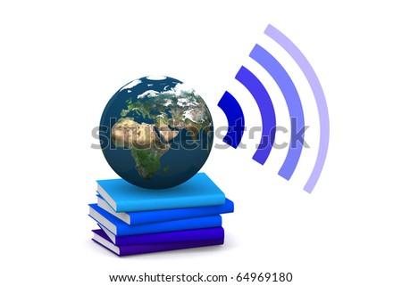 3d world on a book speaking surround on white isolated background